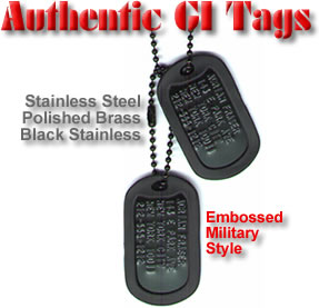 Authentic Dog Tags With Deep Embossed Personalization