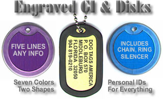 Dogs Tags in Designer Colors With Silencers and Available Backside Engraving